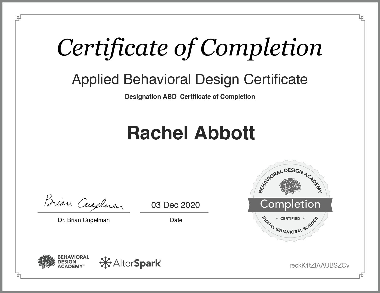 Applied Behavioral Design Certificate