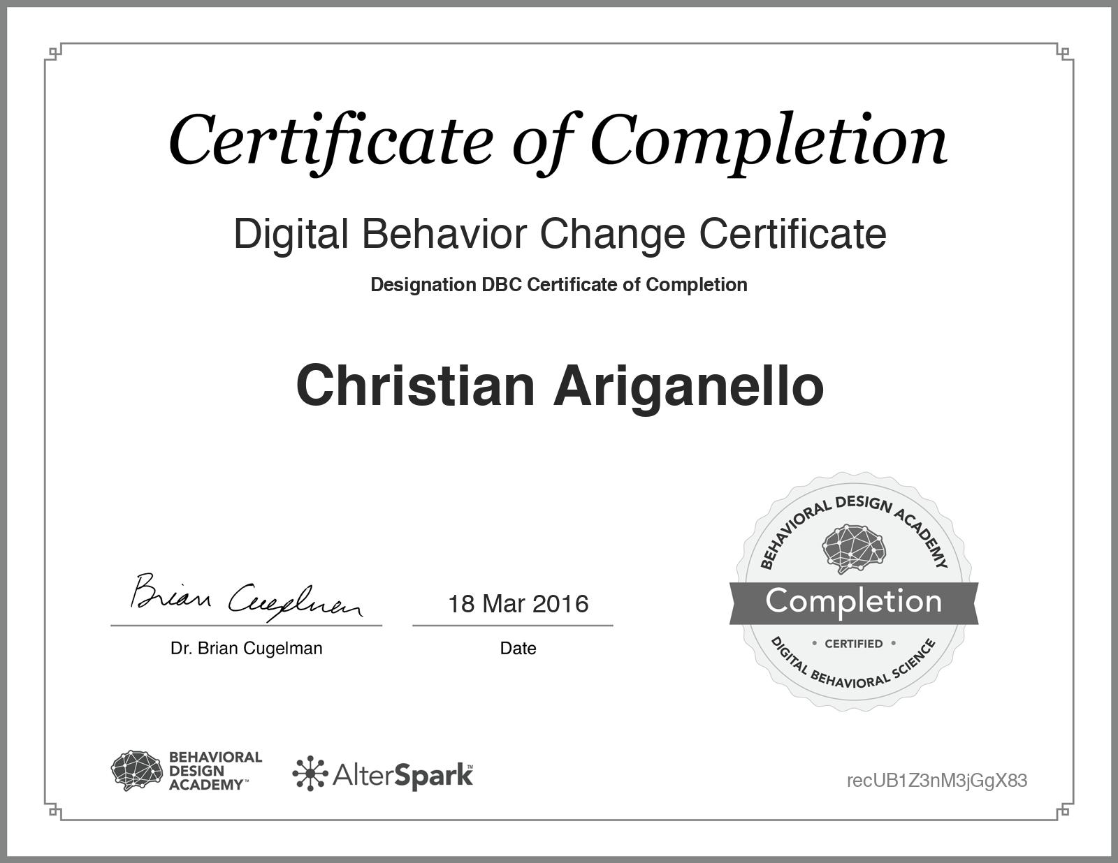 Digital Behavior Change Certificate