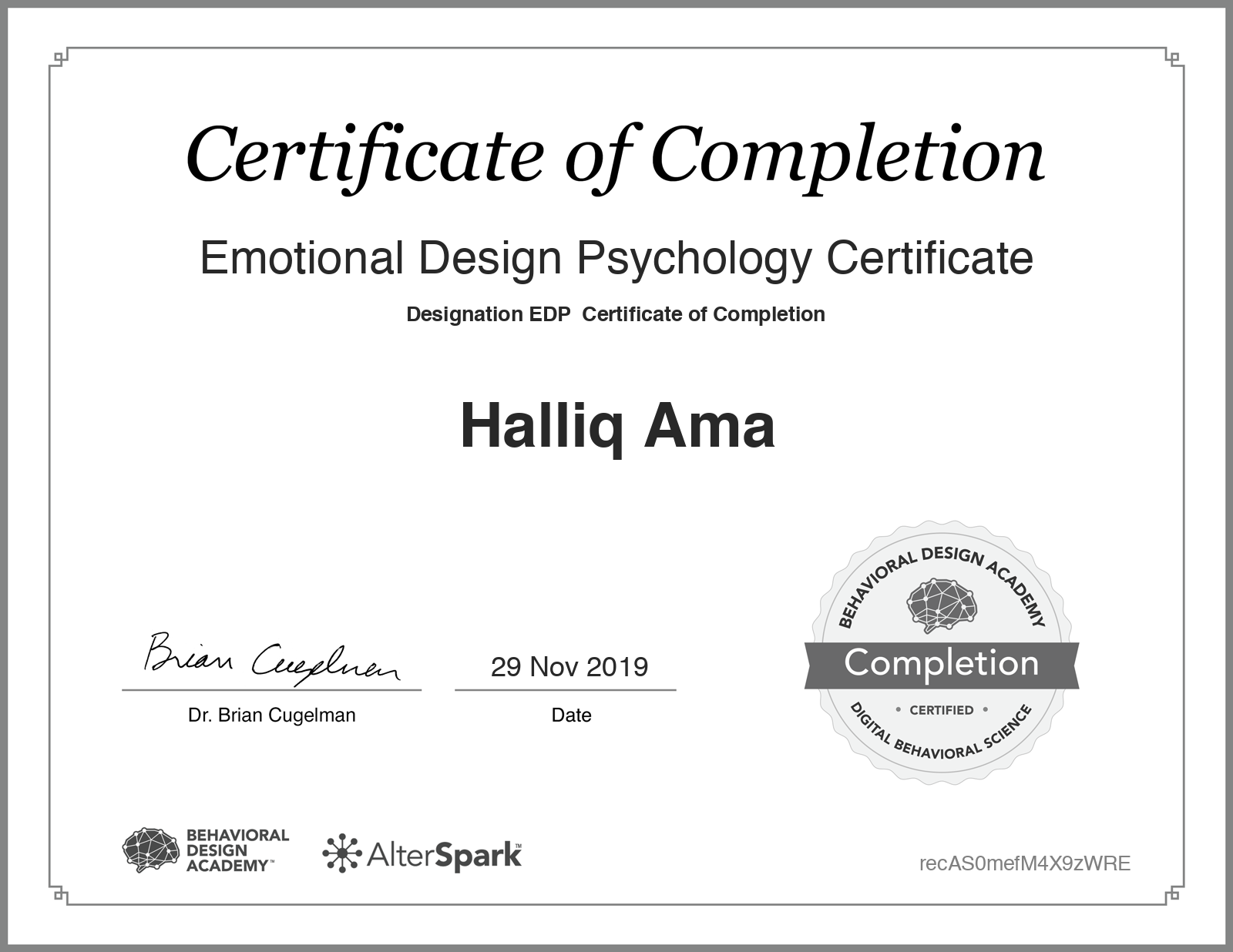 Emotional Design Psychology Certificate