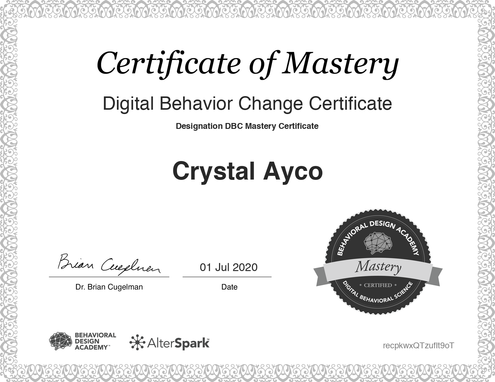 Digital Behavior Change Certificate